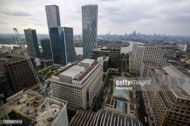 View of from One Canada Square in the Canary Wharf financial, business and shopping district, with the City of London square mile financial district...