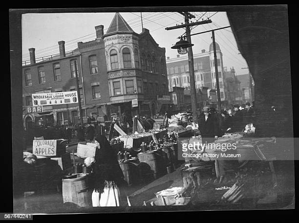 View of fruits and vegetables stand near Maxwell Street and Jefferson Street Chicago Illinois 1906