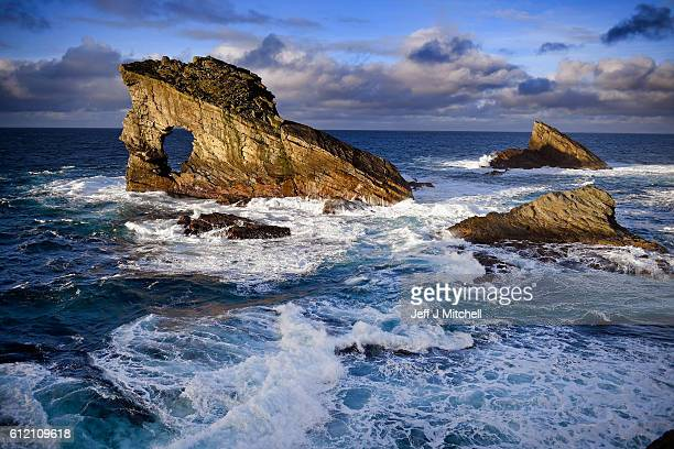 A view of Gaada Stack on the Island of Foula September 30 2016 in Foula Scotland Foula is the remotest inhabited island in Great Britain with a...