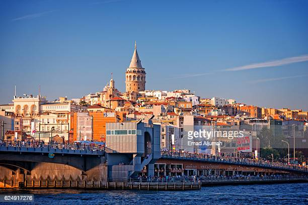 View of Galata Bridge and Galata Tower in the background, Istanbul, Turkey