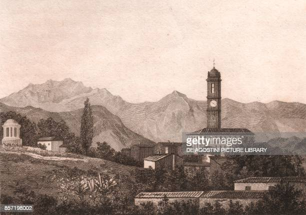 View of Galbiate with the Lecco mountains in the background Lombardy Italy steel engraving ca 115x82 cm from L'Italia la Sicilia le isole Eolie...