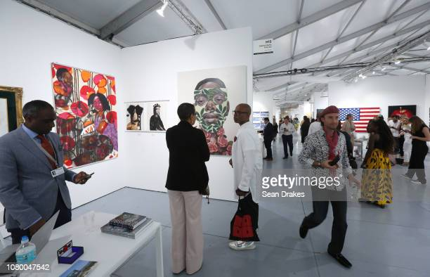 View of Galerie Myrtis Fine Art at Scope Art Fair as part of the 2018 Art Basel Miami Beach on December 8 2018 in Miami Beach Florida