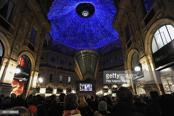 A view of Galleria Vittorio Emanuele with the maxi video during the Teatro Alla Scala 2013/14 Opening on December 7 2013 in Milan Italy
