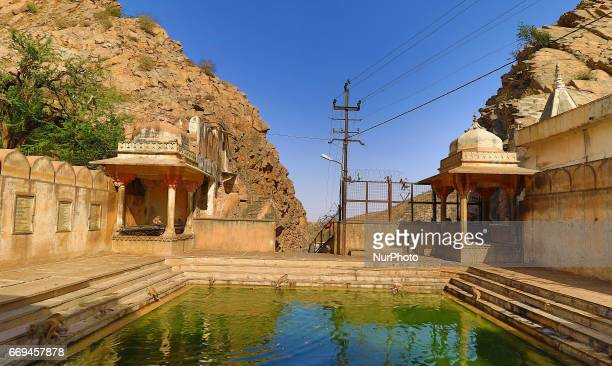 A view of Galta ji Temple in JaipurRajasthan India on April 17 2017Galta Ji temple is an ancient Hindu holy shrine pilgrimage with many holy natural...