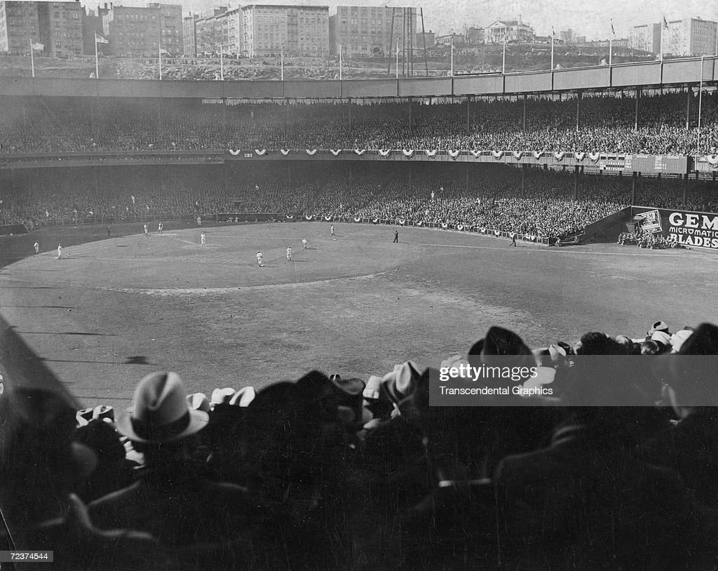 NEW YORK - OCTOBER 10, 1923. A view of game one of the 1923 World Series at the Polo Grounds showing the New York Yankees playing the New York Giants in their home.