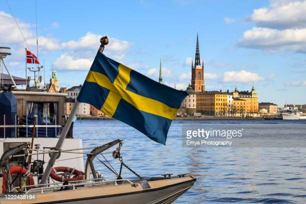 view of gamla stan old town from harbor of stockholm, sweden - stockholm stock pictures, royalty-free photos & images