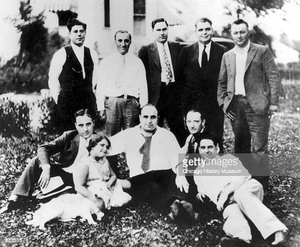 View of gangster Al Capone with family and friends at a picnic, Chicago Heights, IL, 1929.