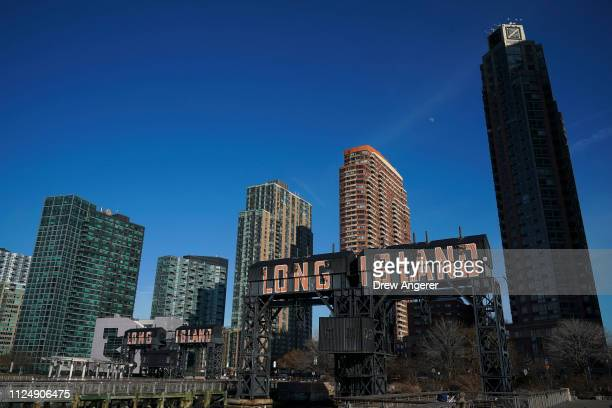 A view of Gantry Plaza State Park along the waterfront in Long Island City February 14 2019 in the Queens borough of New York City Amazon said on...