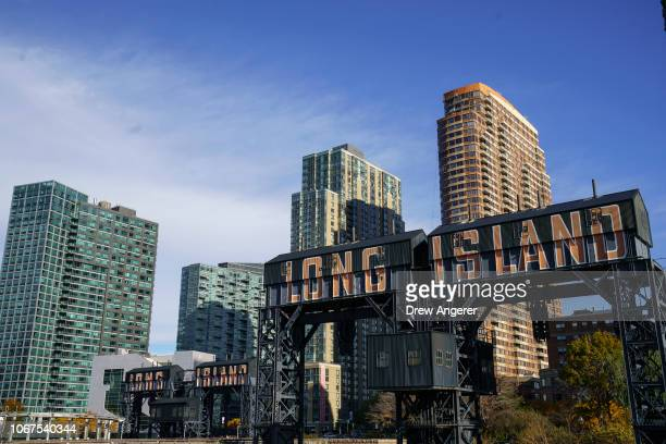 A view of Gantry Plaza State Park along the waterfront on November 14 2018 in the Long Island City neighborhood of the Queens borough of New York...