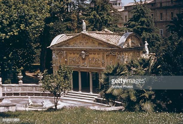 A view of gardens inside Vatican City circa 1960