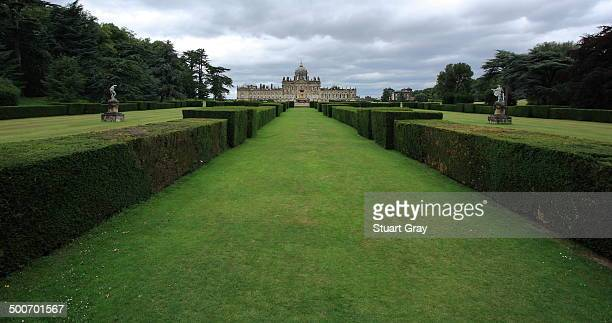 View of gardens leading up to the main house at Castle Howard, an historic stately home in England.