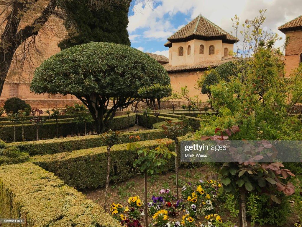 View Of Gardens Of Generalife Alhambra Granada Spain Stock Photo ...