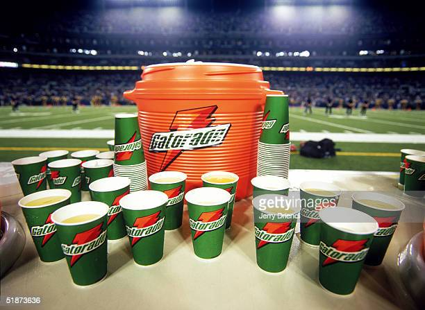 View of Gatorade cups and Cooler on a sideline table during a preseason game between the Baltimore Ravens and the Detroit Lions at M&T Stadium on...