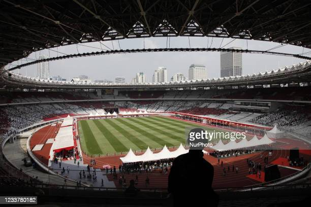 View of Gelora Bung Karno Stadium during mass vaccination in Jakarta, Indonesia on July 3, 2021. The Indonesian Ministry of Health announced that it...