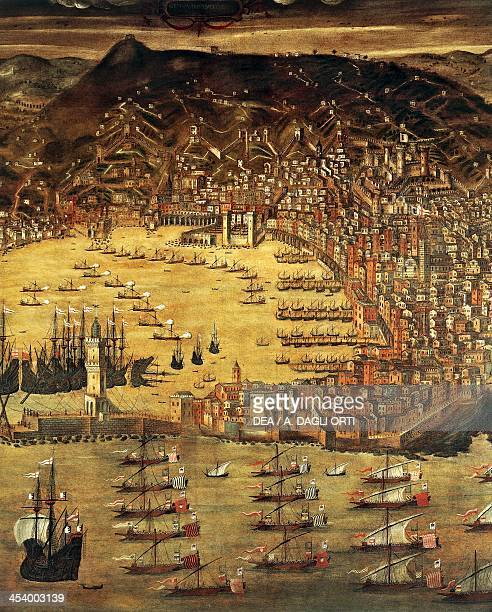 View of Genoa and its harbour painting by Cristoforo Grassi Italy 15th16th century Genoa Pegli Civico Museo Navale