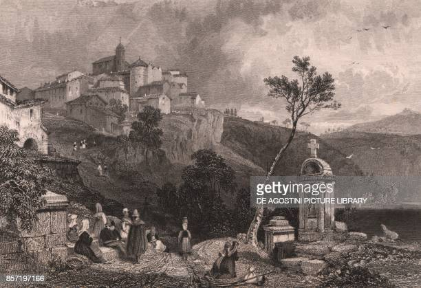 View of Genzano Lazio Italy steel engraving from a drawing by James Duffield Harding ca 141x97 cm published by Jennings London