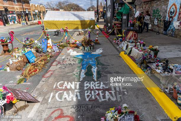 """View of """"George Floyd Square"""" the place where George Floyd was murdered in May 2020, taken on March 28, 2021 in Minneapolis, Minnesota. - Opening..."""