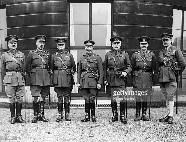 View of George V with his army commanders at Buckingham Palace, celebrating the Silver Jubilee, circa 1918. From left to right are Australian Field...