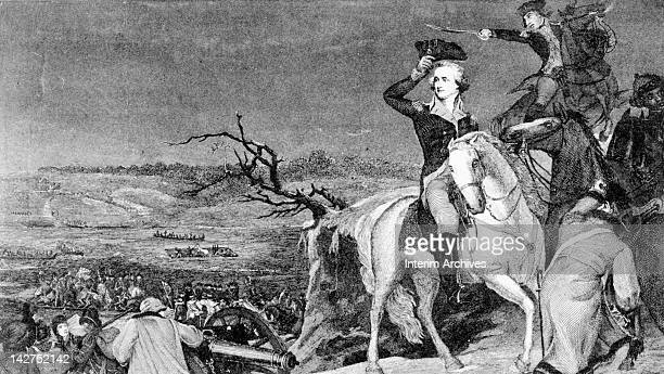 View of George Washington on horseback looking back upon his troops as they cross the Delaware River near Trenton NJ December 25 1776 From a mid...