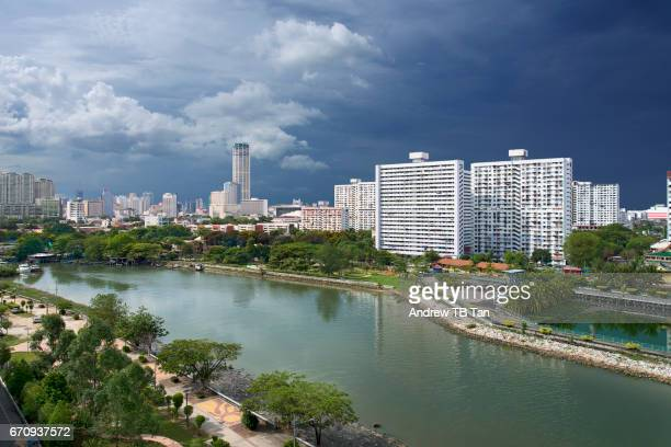 View of Georgetown, Penang skyline from the Pinang River bank