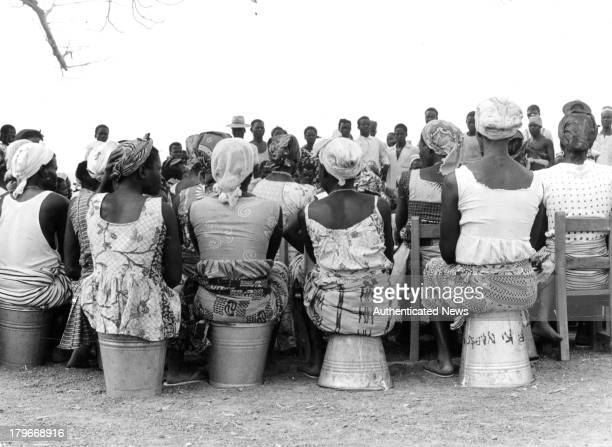 A view of Ghanaian women at a village meetingto discuss the question of community development in Ghana