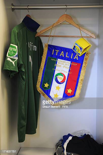 View of Gianluigi Buffon of Italy's kit alongside the Team pennant and Captain's armband inside the Italian dressing room prior to the FIFA...