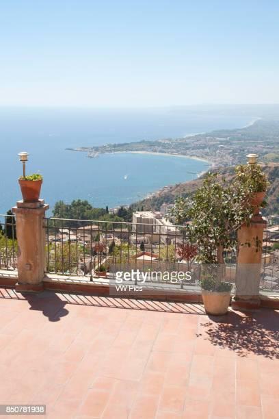 View of Giardini Naxos and Golfo Di Naxos from Taormina Sicily Italy