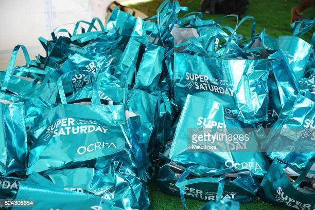 View of gift bags during OCRFA's 20th Annual Super Saturday to Benefit Ovarian Cancer on July 29 2017 in Watermill New York