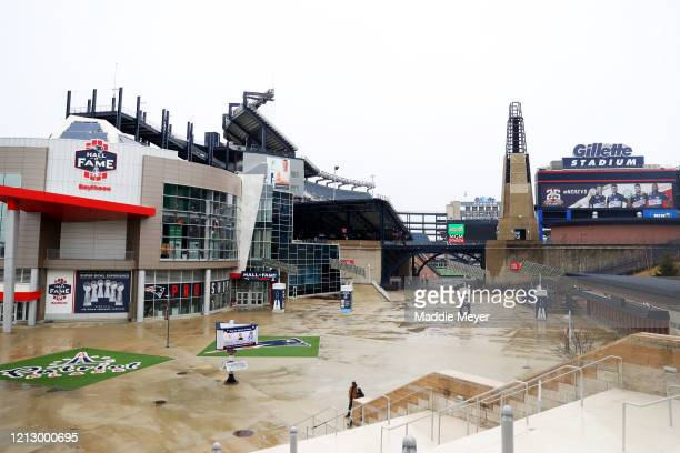 A view of Gillette Stadium the home of the New England Patriots on March 17 2020 in Foxborough Massachusetts Quarterback Tom Brady announced he will...