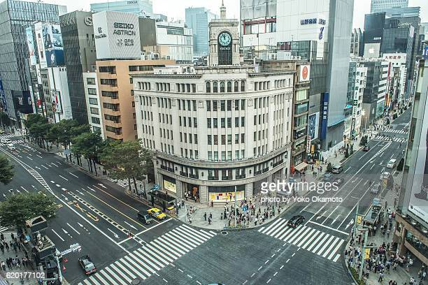 view of ginza 4cyome intersection - ginza stock pictures, royalty-free photos & images