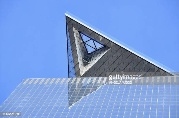 View of glass platform seen from below at the opening of Edge the Western Hemisphere's highest outdoor sky deck in New York City on March 11 2020...