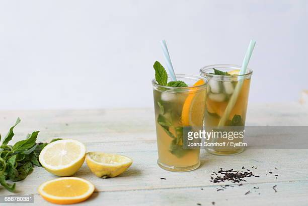 View Of Glasses Of Iced Tea With Mint And Sliced Lemon