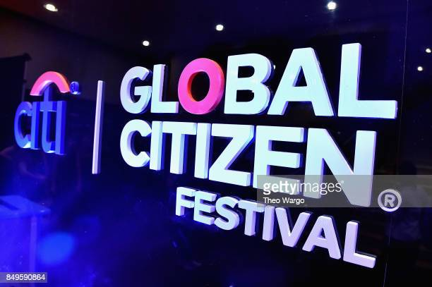A view of Global Citizen and Citi signage during Global Citizen Movement Makers at NYU Skirball Center on September 19 2017 in New York City