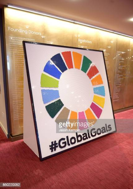 A view of Goalkeepers signage at Goalkeepers 2017 at Jazz at Lincoln Center on September 20 2017 in New York City Goalkeepers is organized by the...