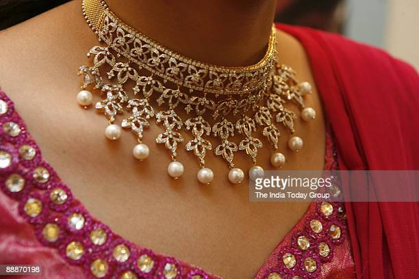 View of Gold and Diamond Jewellery at Tanishq Jewellery House in Ludhiana Punjab India