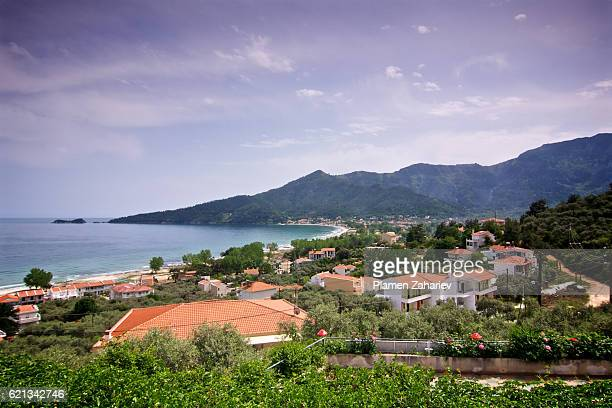 view of golden beach, thassos - thasos stock photos and pictures