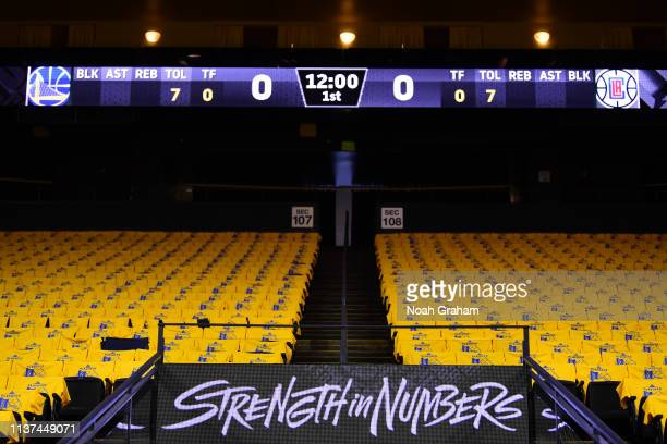 A view of Golden State Warriors signage prior to a game against the LA Clippers before Game Two of Round One of the 2019 NBA Playoffs on April 15...
