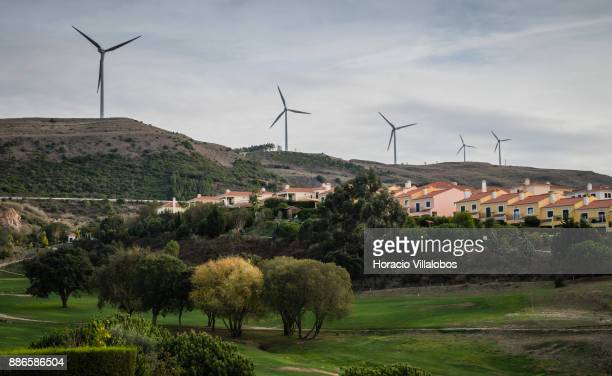 View of Golf links and surrounding wind turbines at Dolce CampoReal Lisboa Hotel during Gastronomic FAM Tour on November 27 2017 in Torres Vedras...