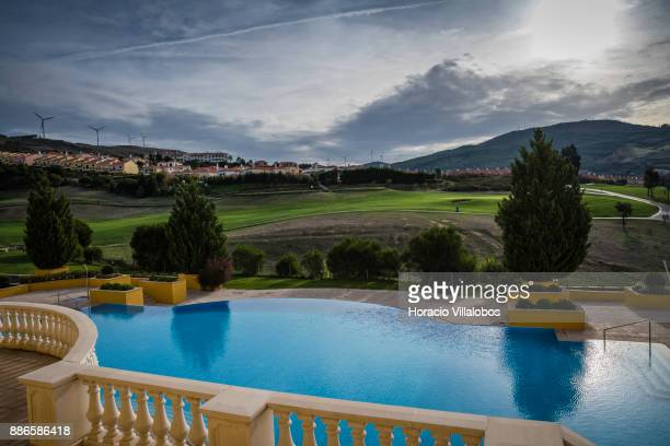 View of Golf links and swimming pool at Dolce CampoReal Lisboa Hotel during Gastronomic FAM Tour on November 27 2017 in Torres Vedras Portugal...