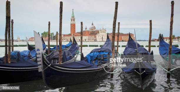 View of gondolas moored on the canal Venice Italy May 9 2017