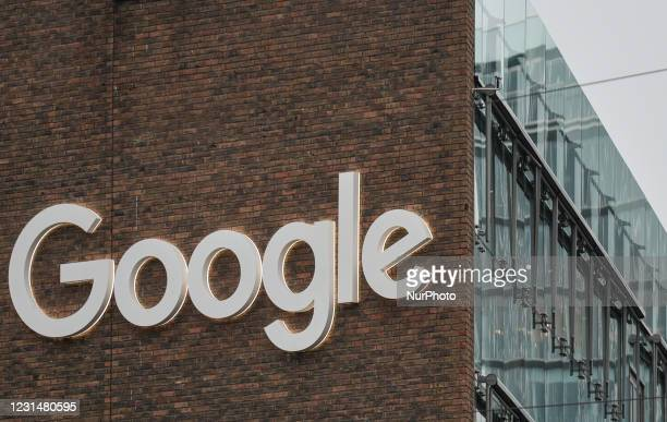 View of Google logo on a Google building GRCQ1 in Dublin's Grand Canal area during Level 5 Covid-19 lockdown. On Tuesday, March 2 in Dublin, Ireland.