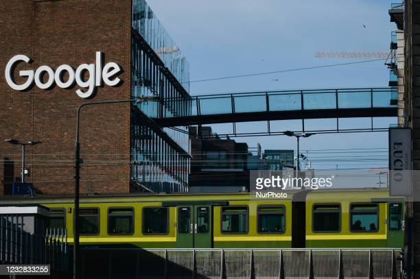 View of Google logo on a Google building GRCQ1 in Dublin's Grand Canal area. On Tuesday, 11 May 2021, in Dublin, Ireland.