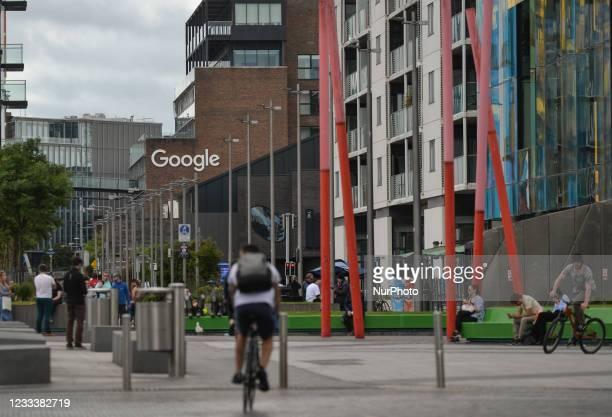 View of Google logo on a Google building GRCQ1 in Dublin's Grand Canal area. On Thursday, 10 June 2021, in Dublin, Ireland.