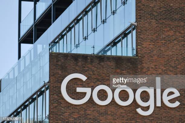 View of Google logo on the Google building GRCQ1 in Dublin's Grand Canal area. On Tuesday, 11 May 2021, in Dublin, Ireland.