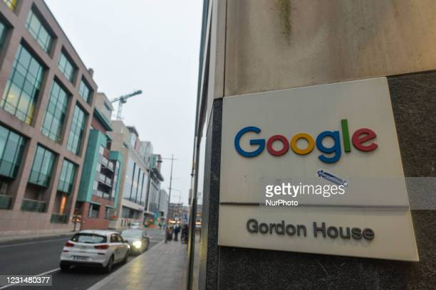 View of Google logo outside Google EMEA HQ in Dublin's Grand Canal area during Level 5 Covid-19 lockdown. On Tuesday, March 2 in Dublin, Ireland.