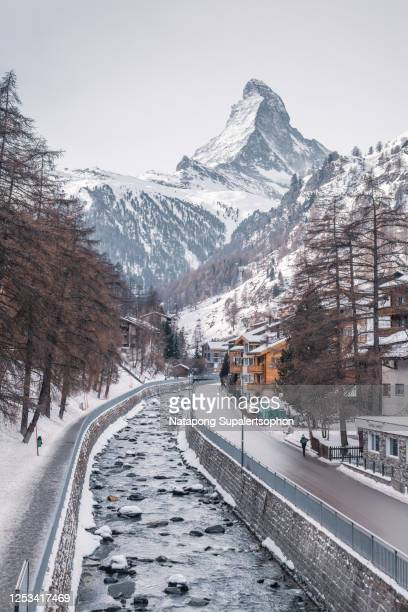 view of gornergrat kulm hotel and famous matterhorn, zermatt, switzerland. - switzerland stock pictures, royalty-free photos & images
