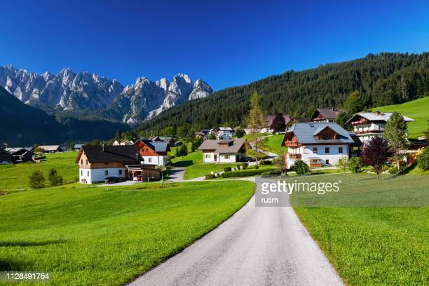 view of gosau valley, salzkammergut, austria - austria stock pictures, royalty-free photos & images