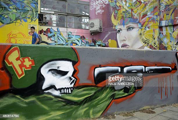 View of graffitis at the 13 Commune shantytown in Medellin Antioquia department Colombia on July 15 2015 In 2002 Medellin was rocked by violence...