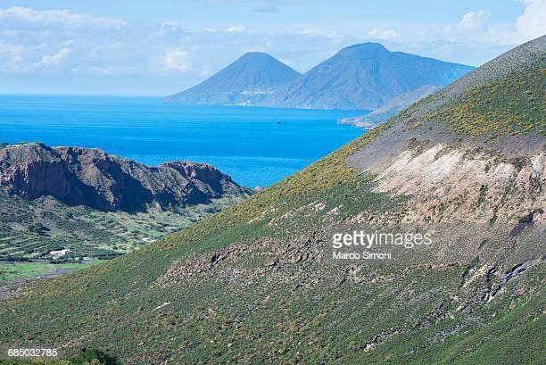 View of Gran Cratere, Lipari and Salina Island, Vulcano Island, Aeolian Islands, UNESCO World Heritage Site, Sicily, Italy, Mediterranean, Europe