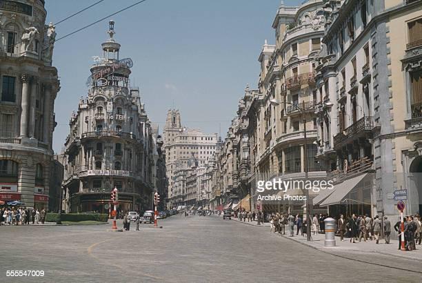 A view of Gran Vía Madrid Spain circa 1960